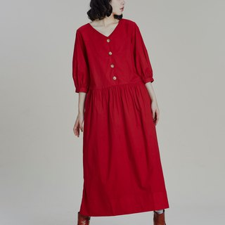 Shan Yong red five-point puff sleeve long dress