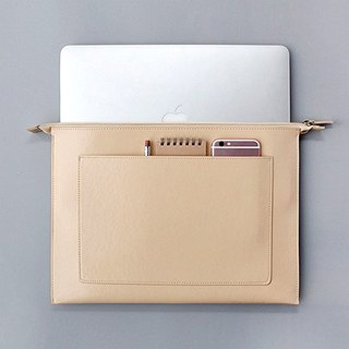 "Korea ithinkso 15-inch leather zipper pouch DOCUMENT ZIP POUCH _ 15 ""(XL) _Beige"