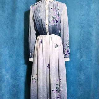 Time ancient [antique dress / sky flowers long-sleeved antique dress] foreign back to the ancient dress VINTAGE
