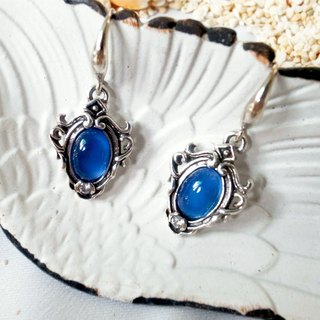 European-style embossed agate earrings - blue agate 925 sterling silver