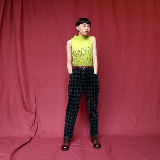 Pumpkin Vintage. Ancient checkered corduroy casual trousers
