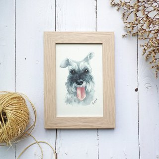 Custom watercolor pet portrait (with photo frame)