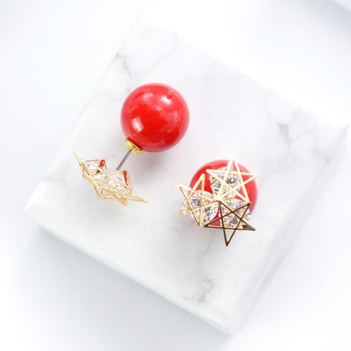 Limited Edition 3 Stars Red Bead Earrings