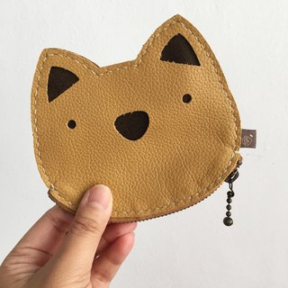 Cat/Zipper Pouch/ID Card Holder/yellow