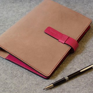 YOURS A5-SIZE insert-style loose-leaf notebook + L sandwich wood color leather + light peach