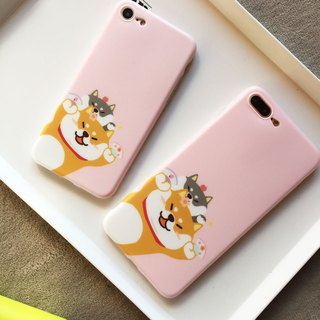 Baise-cho original exclusive Shiba Inu dog pink peach iphone6 ​​/ 7 / 8plus Apple X mobile phone soft shell
