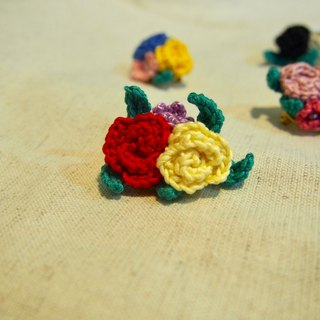 Lacy love rose pins - red and yellow