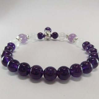 Purple Gold Flower - Premium Natural Amethyst + Purple Jade Crystal + Blue Moonstone Sterling Silver Bracelet