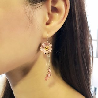Leather Sakura earrings │ ear hook │ hanging ear style