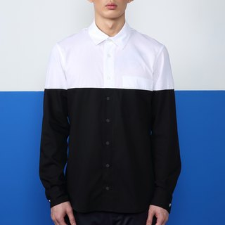 CA Brook Shirt Qiangnian stitching long-sleeved shirt - White Black