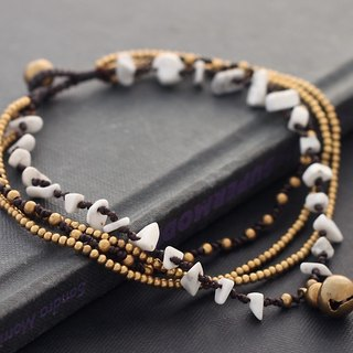 Howlite Stone Hippy Anklets Chain Layer Romantic Brass Braided