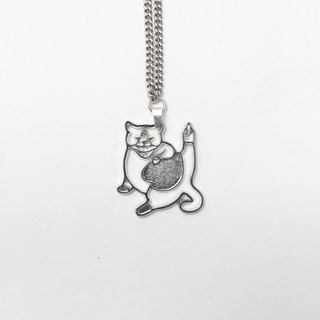 Cat long necklace silver long necklace jewelry middle finger salute