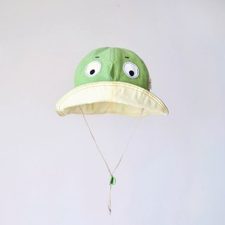 [Hide hat-grass green] light wash cotton children's visor