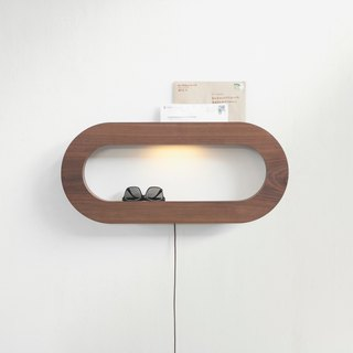 CAVE Oval storage wall lamp │ three-section touch dimming │ black walnut