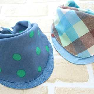 Baby Bib, Set of 2, Reversible Bandana Bib, Japanese Cotton, Check, Polka Dots