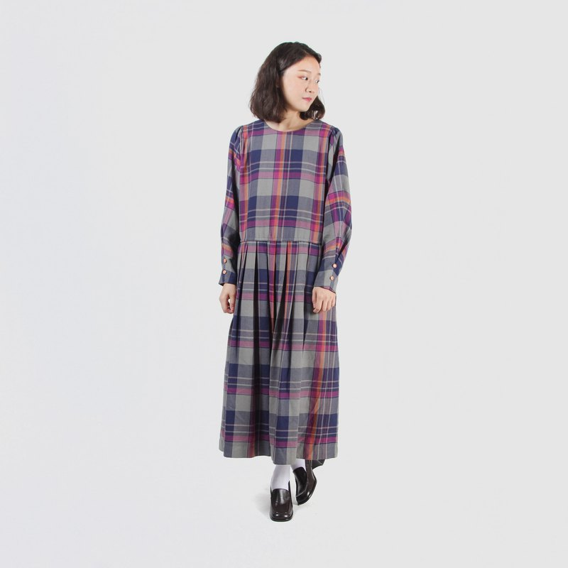 [Egg plant ancient] flying mouse girl plaid print vintage dress
