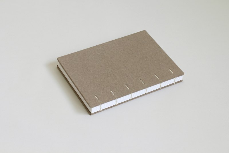 Hardcover Notebook in Dirt Ramie Cotton Cloth- Coptic Bound (the hidden diagonal stitch)