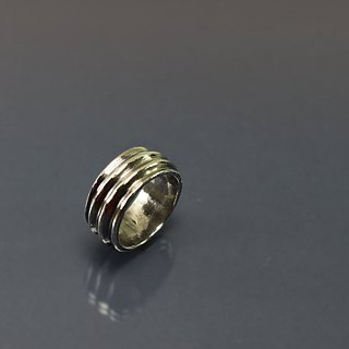 Rotating line 925 silver ring