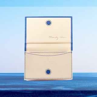 TWO TONE LEATHER CARD HOLDER MAGNETIC CLOSURE (SHARP BLUE)