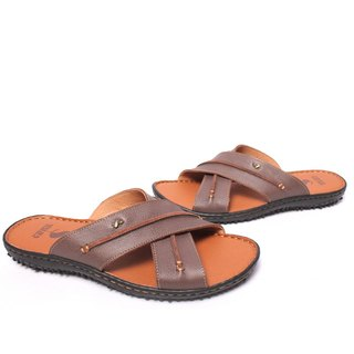 Filial Piety Temple Good damping fashion leather hand-stitched X-type sandals and slippers coffee