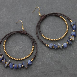 Lapis Lazuli Chandelier Stone Earrings  Raw Brass Hoop Dangle Earrings