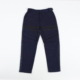 Different material cut pants - blue black