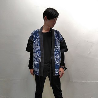 R.7.G former double dragon print handmade blue dyed stitching tannin neutral kimono jacket galaxy starlight