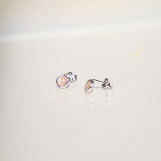 Pink orange moonstone small round sterling silver needle earrings (can be changed)