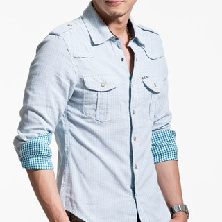 40 combed cotton double-cloth blue and white striped long-sleeved shirt pyramid rivet (inner layer lattice)