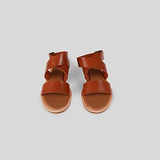 Brown cross strap leather sandals | Tan
