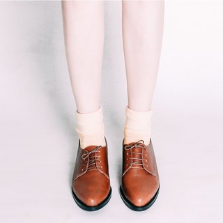 Do not squeeze the gentleman shoes! Coconut brown - cream cream matte Derby shoes full leather MIT Taiwan handmade