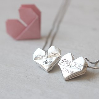 Personalised handmade 925 silver origami heart necklace