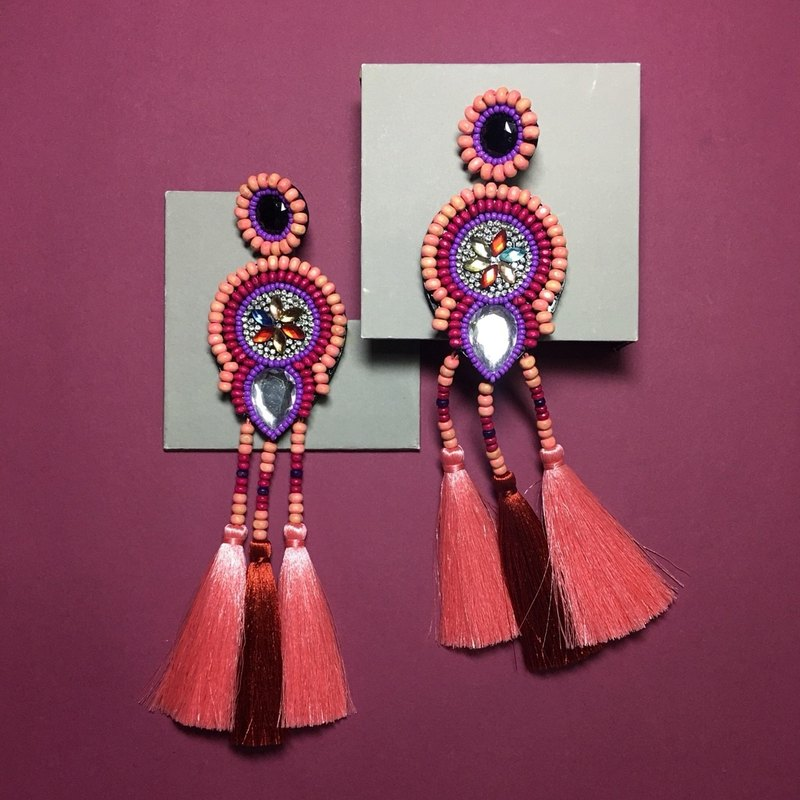 earrings : boho chic x3rd pink l red