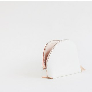 F2studio hand-made semi-circular package handmade leather shells package mini hand holding handbags white
