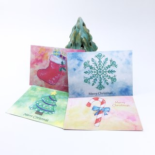 : Christmas Card Combination Package / 4 sheets: Postcard gift plain color envelope Christmas gift hand-painted watercolor