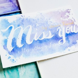 Custom handwritten brush lettering original copy postcard for friendship / love