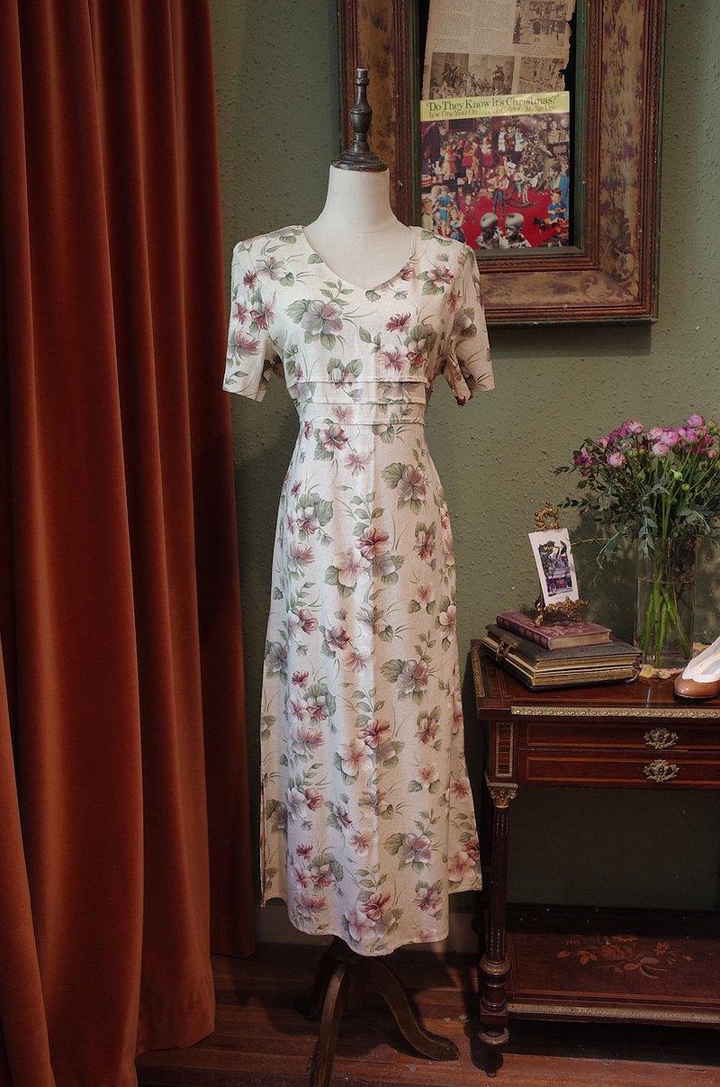 Vintagedress 西班牙制印花連衣裙古著洋裝