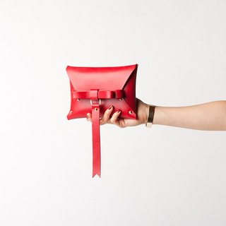 REAL LEATHER BOW CLUTCH  --  RED