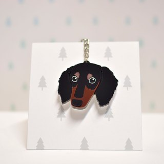 Four-head black sausage - Long hair - Key ring - Pet accessories - Pet accessories - Wool kids - Gifts - Custom - Acrylic - BU