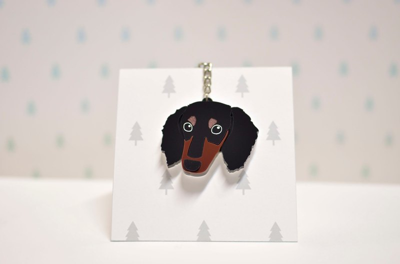Four-headed black sausage - long hair - key ring acrylic