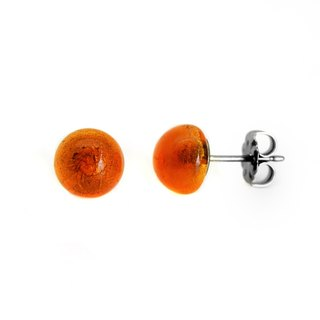 Little bit of colorful orange red glass a pair of pure titanium earrings
