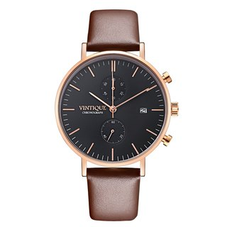 [Vintique] chronograph watch simple design sapphire glass rose gold stainless steel case leather strap CH-BR03