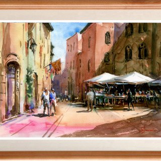 A watercolor picture Original town of San Giaminoño