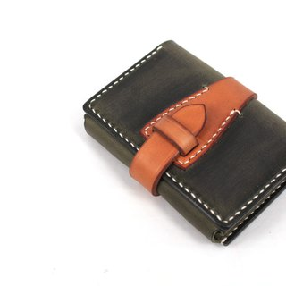 MOOS Green Crazy cow leather simple wallet card package