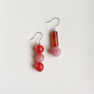 Antique Bead Earrings with Soy Sauce Balls and Karaoke Bubbles