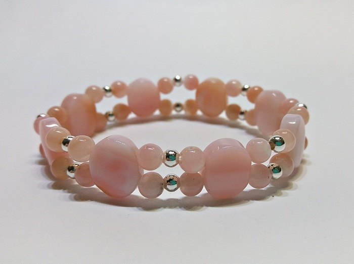 Embracing love - Pink Opal opal sterling silver bracelet Hong Kong original design