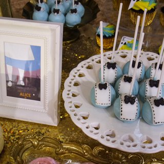 Alice rabbit afternoon tea Candybar wedding arrangement with backboard phase table layout