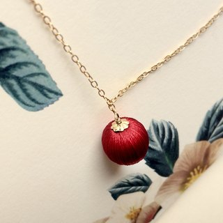 Red    Stereo embroidery necklace    14k gold chain