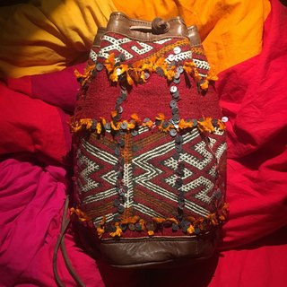 Moroccan handmade antique carpet sequin bucket bag backpack Mozambique