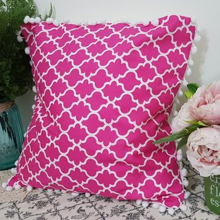 Scandinavian style peach red geometric pattern white hair ball pillow / pillow